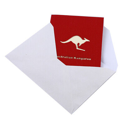 Valentines Birthday Card 3D Kangaroo Pattern Greeting Cards Anniversary Gifts BS
