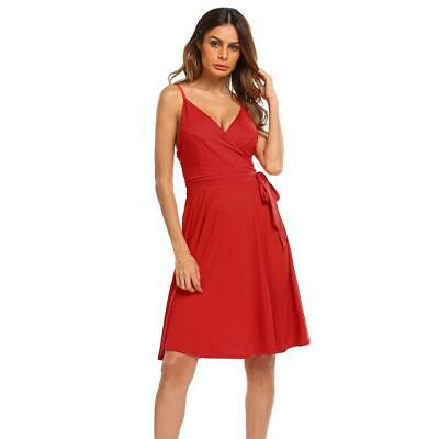 Women's Sexy Spaghetti Strap Backless Side Tie Bow Casual Party Pleated EN24H