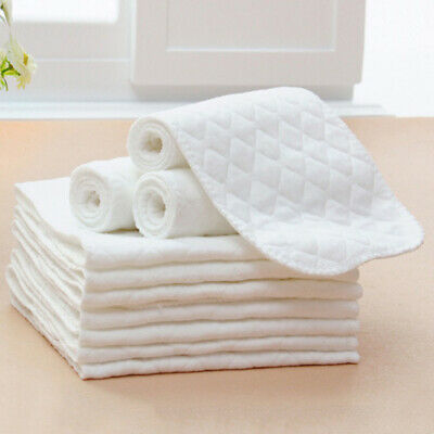 Reusable 3 Layers Cotton Cloth Baby Diapers Inserts Liners Newborn Soft Nappy
