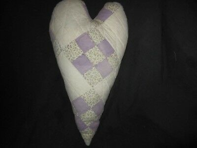 Primitive quilted  heart - large - vintage hand stitched quilt -lavender/white