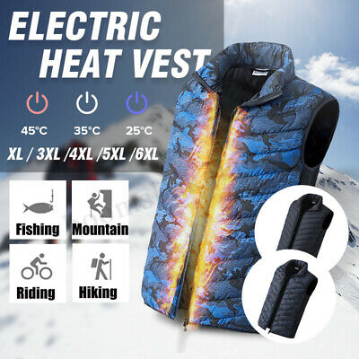 Electric Heated Warm Vest Men Heating Coat Jacket 3 Colors Skiing camping 5V AU