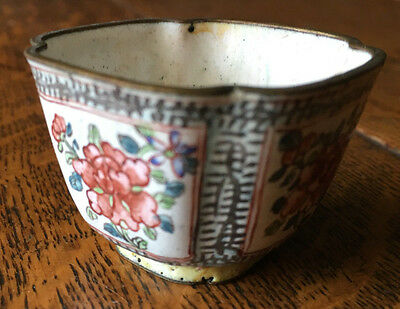 Chinese Enamel over Copper Open Salt Dip Asian Floral Square Cellar 1920's