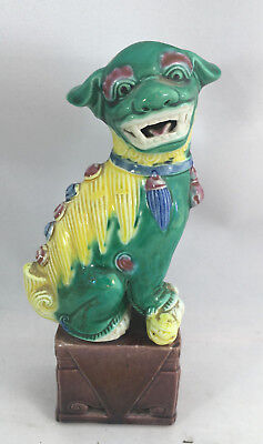 Green Yellow Foo Dog Asian Chinese Figurine Vintage Antique Help ? 504 Base 6""