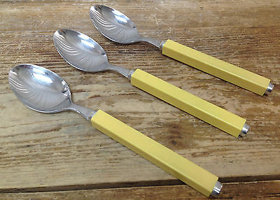 Villeroy Boch Play Two Stainless Plastic Square Yellow 3 Oval Soup Place Spoons