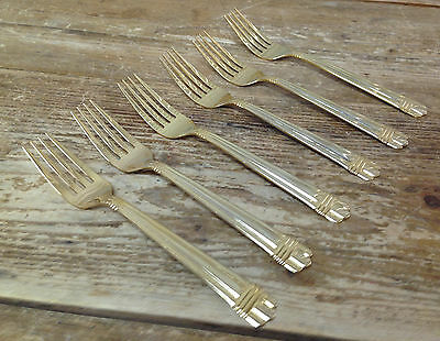 Gold Electroplate Stainless 6 Salad Forks HSV28 Hampton Ribbed Bands Stripes GEO