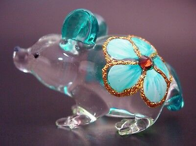 Glass MOUSE RAT Turquoise Painted Ornament Delicate Decorative Curio Animal Gift
