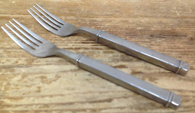 Gibson 18/10 Stainless China 29 HEAVY Box Boxy Square Forged 2 Dinner Forks HELP