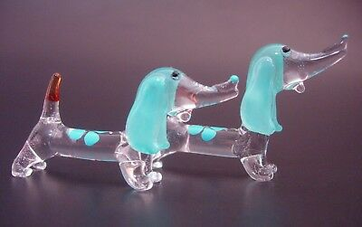 2 Tiny Glass DACHSHUNDS Turquoise Glass DOGS Miniature Glass Animal Ornaments