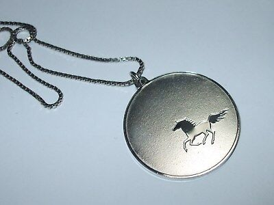 "Vintage Sterling Silver 925 16"" Chain Necklace Black Beauty Medallion Pendant 77"