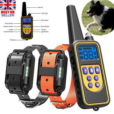 IP68 Pet Dog Training Collar Rechargeable Electric Shock LCD Anti-bark R 800M