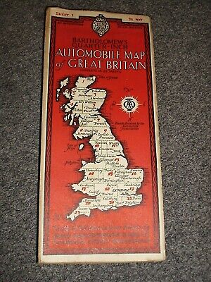 Bartholomew's ¼inch Automobile Map of Great Britain.#1.John O'Groats.c1930s