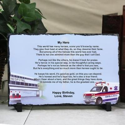 9a405c888e Personalized Fathers Day Keepsake Plaque Dr EMT Medical Dad my Hero Slate  Poem