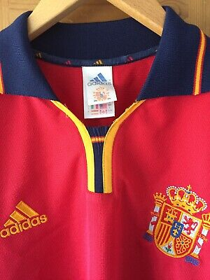 Adidas Spain National Football Team FEF 1999 to 2001 Home Kit Shirt Top Large