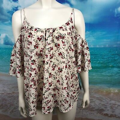 French Connection Polly Plains Cold Shoulder Blouse Large White Floral NEW   227 4f47c2cdf