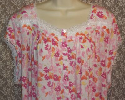 Small S EILEEN WEST Modal Nightgown Short Sleeve Waltz White Pink Orange  Floral 98cae95af