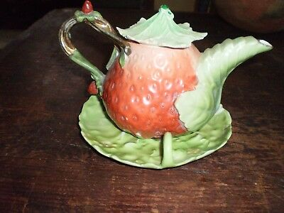 Old Royal Bayreuth Strawberry Form Teapot With HTF Matching Underplate
