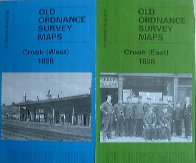 Old Ordnance Survey Maps Historic Town Crook East & West 1896 Co Durham New