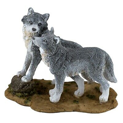 """Two Small Gray Wolves Wolf Figurine 4.5"""" Long New In Box!"""