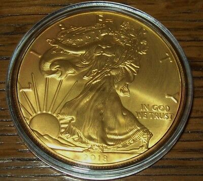 2018 24K Gold Gilded American Silver Eagle 1 Troy Oz. .999 Fine One Dollar Coin