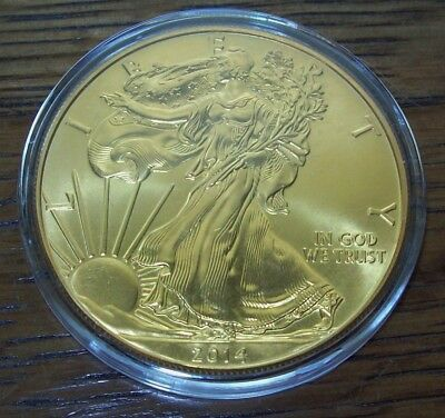 2014 24K Gold Gilded American Silver Eagle 1 Troy Oz. .999 Fine One Dollar Coin