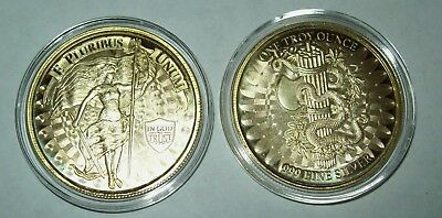 Lady Liberty and Unity High Relief 1 Troy Oz .999 Fine Silver Round Gold Gilded