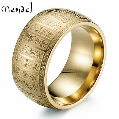 MENDEL Chinese Ancient Taoism Text Ring Stainless Steel Cool Band Gold Size 7-11