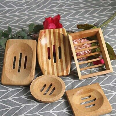 Natural Bamboo Wood Bathroom Shower Soap Tray Dish Storage Holder Plate 2019 Hot