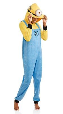 NEW Women s Minions One Piece Hooded Pajamas Costume Union Suit Size Large L 76a53f480