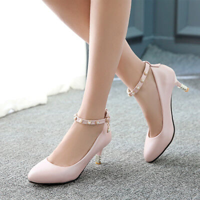 Hot Womens Middle Heels Shoes Roman Foot ring strap Pointed Pumps GD5472