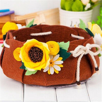 DIY Non-woven Brown Flower Pack Box Kids Educational Toy Handmade Craft BS