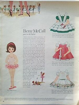 1960 Betsy McCall goes to the ballet paper doll ad page