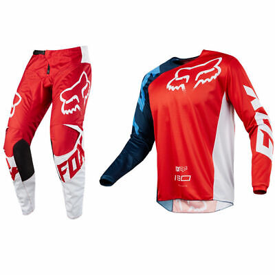 Fox 180 Race Red Rot Jersey Hose Pant Combo 34 L Lack White Shift Oneal Hobda Cr