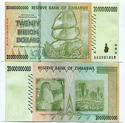 Genuine Zimbabwe 20 Billion Dollars AA 2008 Banknote Circulated Currency