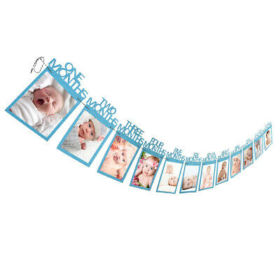 1st Birthday Recording 1-12 Month Baby Photo Bunting Banner Party Decor Gift DIY