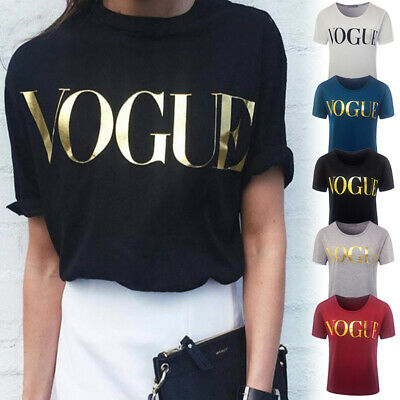 Womens Ladies T Shirt VOGUE Printed Loose Tops Cotton Short Sleeve Blouse Summer