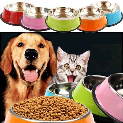 Stainless Steel Puppy Dog Feeder Feeding Food Water Dish Bowl Pet Dogs Cat
