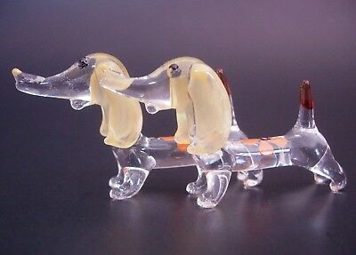2 Tiny Glass DACHSHUNDS Glass DOGS Curio Display Miniature Glass Ornaments Gift