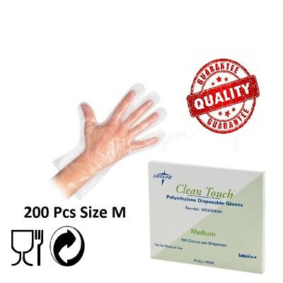 200 Disposable Plastic Gloves Polythene Prep Food Safe Size M