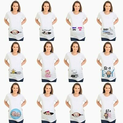2019 Loading Baby Feetprint T-shirt Women Pregnant Maternity Pregnancy Top Tunic