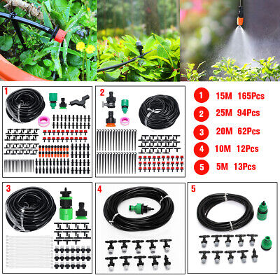 5~25m Micro Drip Irrigation System Plant Self Watering Garden Hose Kits Drippers