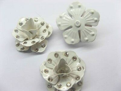 500 White Metal Rose Embellishments with Rhinestone for Crafts