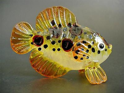 Glass FISH Hand Painted Glass Ornament Glass Animal Tropical Figurine Glass Gift