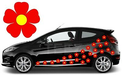 24 Red & Yellow Flower Car Decals, Car Graphics,Flower Car Stickers