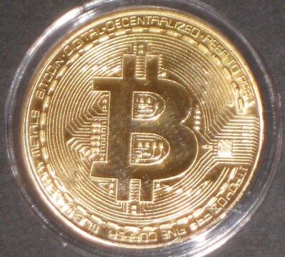 BITCOIN Gold Plated .999 Fine Copper Collectible Cryptocurrency Novelty Coins