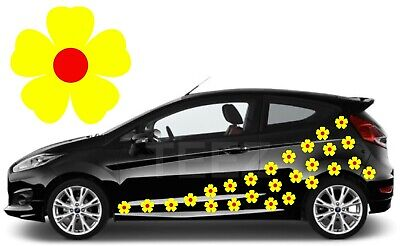24 Yellow & Red Flower Car Decals, Car Graphics,Flower Car Stickers