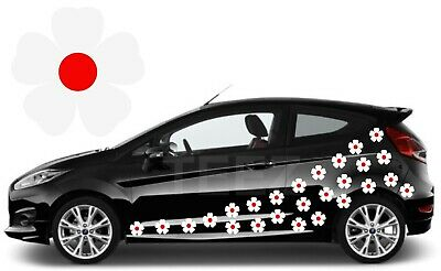 24 White & Red Flower Car Decals, Car Graphics,Flower Car Stickers