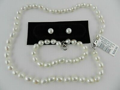 eac365ee8 Macy's Sterling Silver Cultured Freshwater Pearl Necklace, Bracelet and  Earring