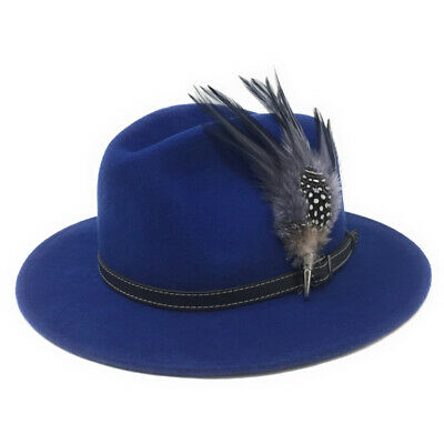 0a48d744b5b Charlbury Womens Wool Blue Fedora Hat with Leather Belt Trim and Country  Feather