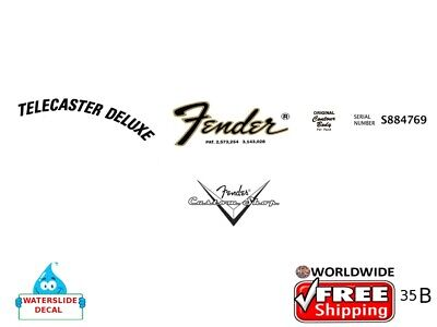 Fender Telecaster Deluxe Right Guitar Decal Headstock Decal Restoration Logo 35b