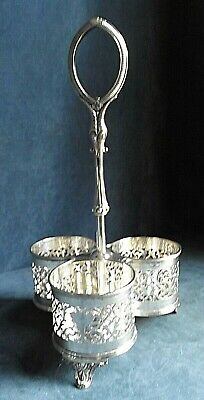 SUPERB ~ SILVER Plated ~ Triple BOTTLE CADDY ~ c1890 by Barker Brothers